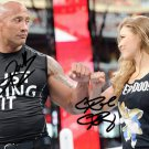 RONDA ROUSEY & THE ROCK SIGNED PHOTO 8X10 RP AUTOGRAPHED WWE WRESTLEMANIA 34