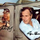GEORGE BUSH SR NORMAN SCHWARZKOPF SIGNED PHOTO 8X10 RP AUTOGRAPH GULF WAR