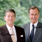 GEORGE BUSH SR & RONALD REAGAN SIGNED PHOTO 8X10 RP AUTOGRAPHED PRESIDENTS