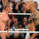 THE ROCK & JOHN CENA SIGNED PHOTO 8X10 RP AUTO WWE AUTOGRAPHED