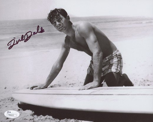 DICK DALE SIGNED PHOTO 8X10 RP AUTOGRAPHED SURFING MUSIC