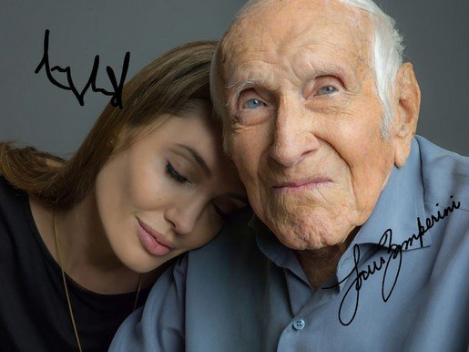 LOUIS ZAMPERINI & ANGELINA JOLIE SIGNED PHOTO 8X10 RP AUTOGRAPHED