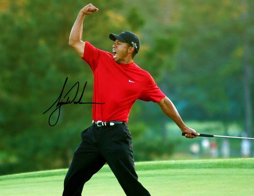 TIGER WOODS SIGNED PHOTO 8X10 RP AUTOGRAPHED 2019 MASTERS WINNER