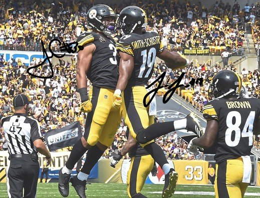 JAMES CONNER JUJU SMITH SCHUSTER SIGNED PHOTO 8X10 RP AUTOGRAPHED STEELERS !
