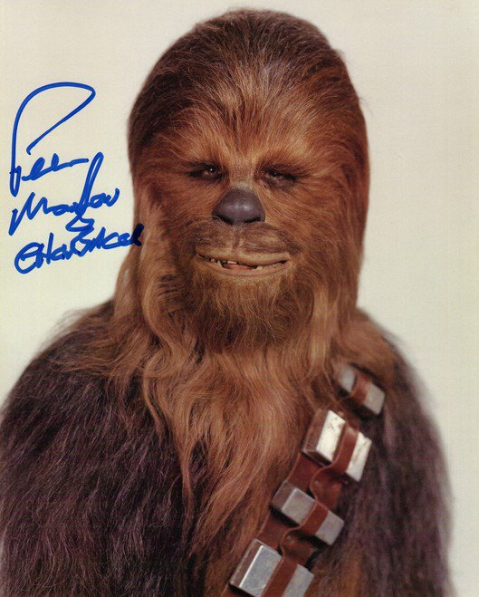 PETER MAYHEW SIGNED PHOTO 8X10 RP STAR WARS CHEWBACCA
