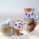 Art Glass Beaded Squirrels Salt & Pepper Shakers