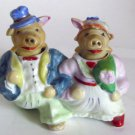 Walking Bride & Groom Pigs Nodders Salt & Pepper Shakers