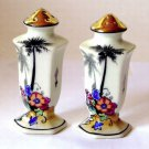 White Glass Palm Trees Salt and Pepper Shakers Satsumi