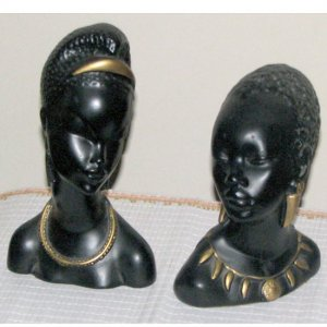 Two African Women Head Busts (California Pottery)
