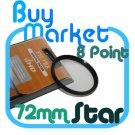 NEW 72mm Star Effect Filter Cross 8 Point 8pt for Lens