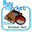 NEW 52mm Graduated Gradual Red Color filter for DSLR lens
