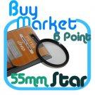 NEW 55mm Star Effect Filter Cross 6 Point 6pt for Lens
