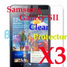 3x LCD Screen Protector Film Guard for Samsung Galaxy S2 II Ultra Crystal Clear