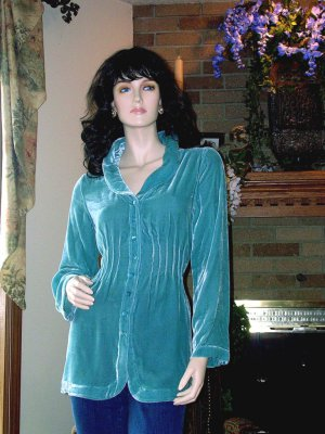NWT SOFT SURROUNDINGS SILK VELVET SHAPED SHIRT Light Teal MEDIUM $98