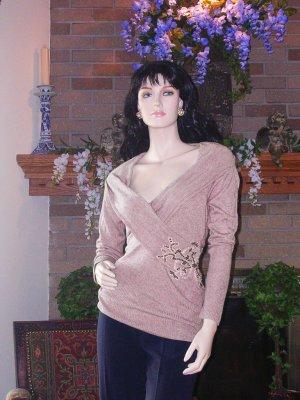 NWT SOFT SURROUNDINGS OLIVIA BAMBOO CASHMERE SWEATER MAUVE PINK XL