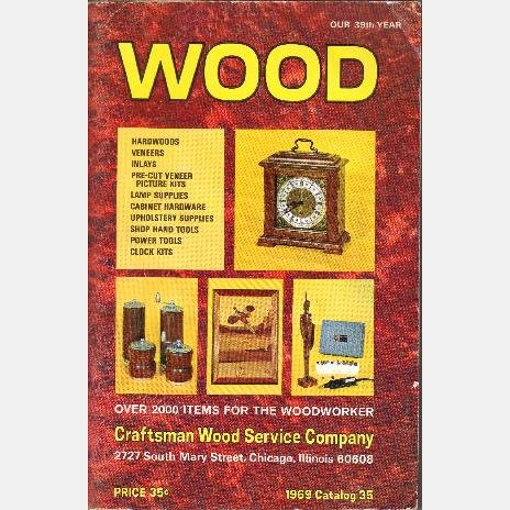 WOOD CATALOG Craftsman Wood Service Company Chicago IL 1969 #35 Woodworker Veneers Clock Inlays
