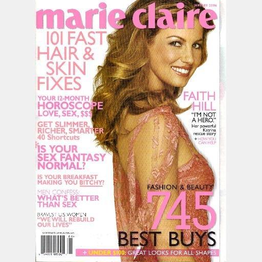 MARIE CLAIRE January 2006 Magazine FAITH HILL's Katrina Rescue Story Jenn Carson-Dad a Serial Killer