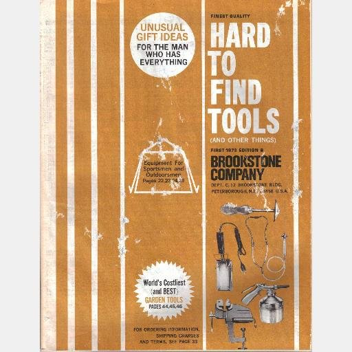BROOKSTONE COMPANY Hard to Find Tools Catalog 1973 1st Edition Peterborough NH Garden Sportsman
