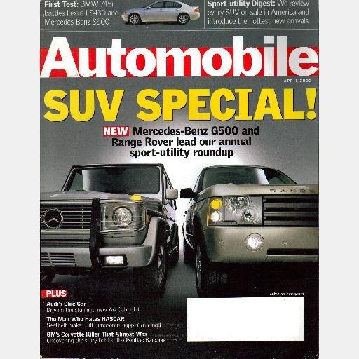 AUTOMOBILE April 2002 Magazine AUDI A4 Cabriolet BMW 745i Mercedes G500 LEXUS LS430 Pontiac Banshee