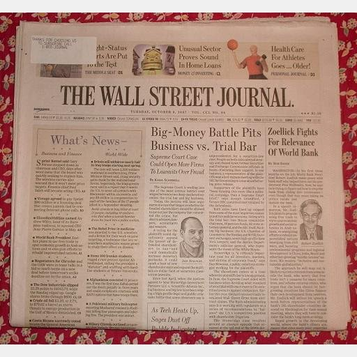 THE WALL STREET JOURNAL Tuesday October 9 2007 news newspaper BRUCE SPRINGSTEEN AND GANG
