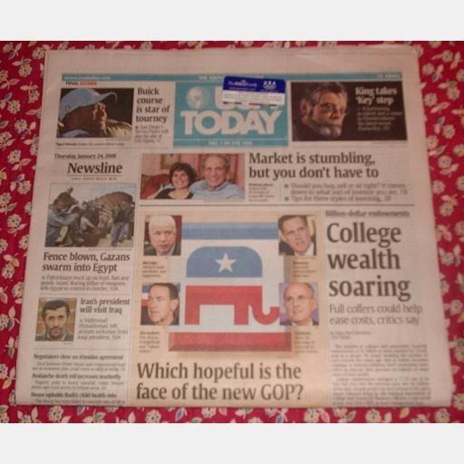 USA TODAY January 24 2008 Newspaper STEPHEN KING DUMA KEY Torrey Pines