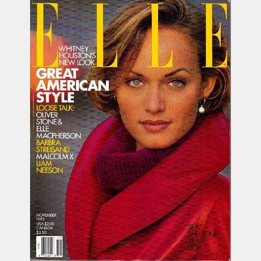 ELLE NOVEMBER 1992 Magazine AMBER VALETTA cover WHITNEY HOUSTON'S NEW LOOK Liam Neeson