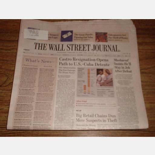 WALL STREET JOURNAL Newspaper February 20 2008 Wednesday CASTRO RESIGNS