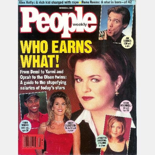 PEOPLE Weekly November 4 1996 Rosie O'Donnell Cindy Crawford Jen Aniston Traci Bingham Baywatch