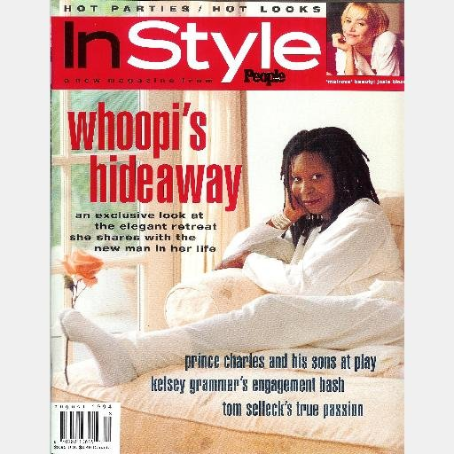 INSTYLE August 1994 Magazine IN STYLE WHOOPI GOLDBERG Tom Selleck Kelsey Grammer Josie Bissett