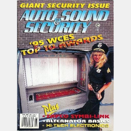 AUTO SOUND SECURITY April 1995 Magazine Zapco Symbi-link 95 WCES Gisele Rich 8 track Honda Accord