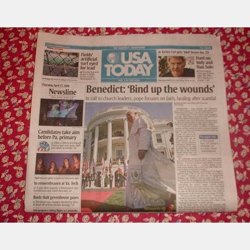 USA TODAY April 17 2008 Thursday Pope Benedict Harrison Ford Lethal Injections Newspaper
