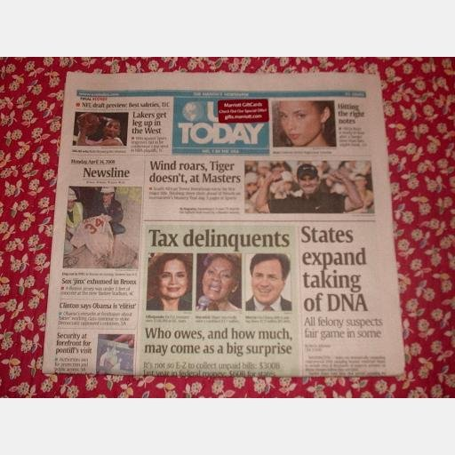 USA TODAY April 14 2008 Monday Newspaper DNA Alicia Keys Trevor Immelman Tax Delinquents