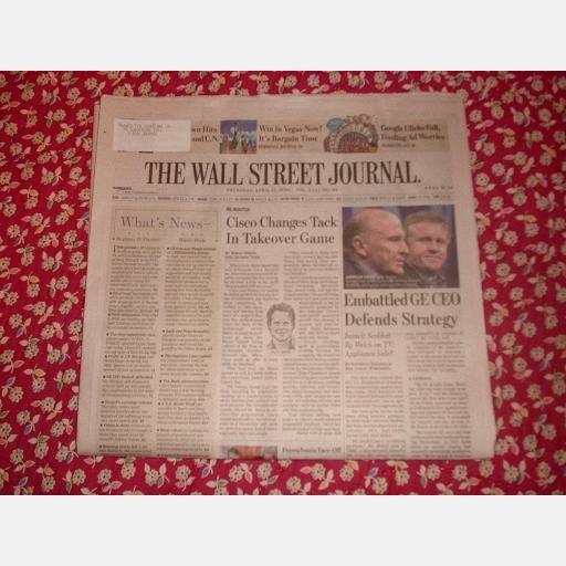 THE WALL STREET JOURNAL Thursday April 17 2008 CISCO GE Jeffrey Immelt Google Clicks Fall