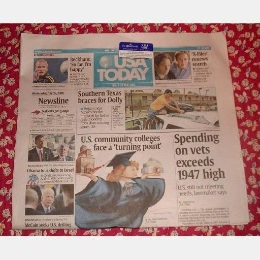 USA TODAY July 23 2008 Wednesday Newspaper David Beckham LA Tropical Storm Dolly X-Files