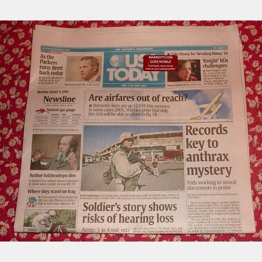 USA TODAY August 4 2008 Monday Newspaper Airfares Solzhenitsyn Dies KNIGHT Brett Favre