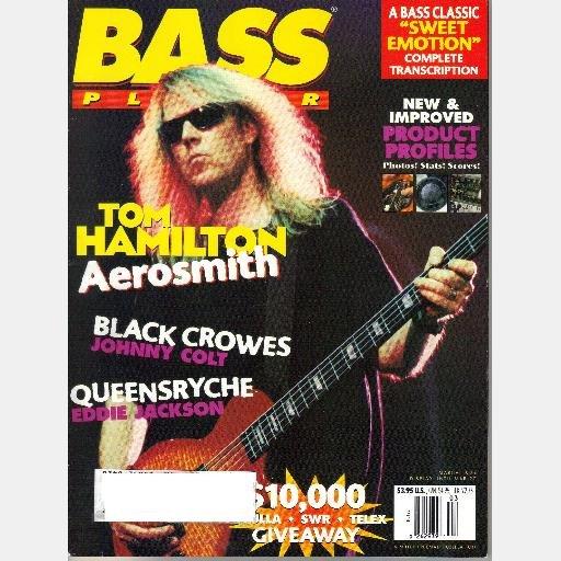 BASS PLAYER March 1996 Magazine TOM HAMILTON Aerosmith Eddie Jackson Queensryche JOHNNY COLT