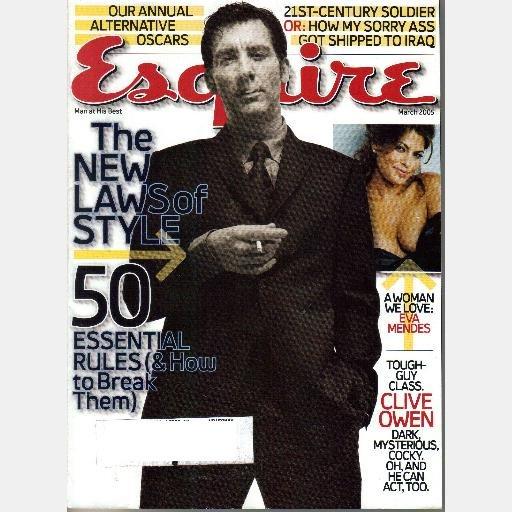 ESQUIRE March 2005 Magazine CLIVE OWEN Eva Mendes Scott Sands Wylie Dufresne Ronnie Earle