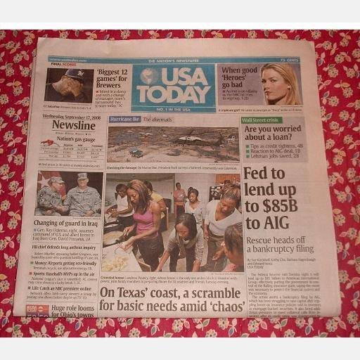 USA TODAY Wall Street Journal September 17 2008 Newspaper Wednesday AIG bailout