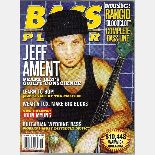 BASS PLAYER August 1998 Magazine JEFF AMENT Pearl Jam Rancid Bloodclot Bulgarian Wedding Bass