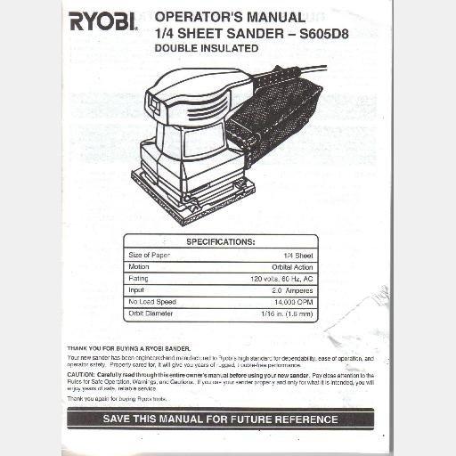 RYOBI OWNERS Operator MANUAL Guide S605D8 1/4 sheet sander 972000870