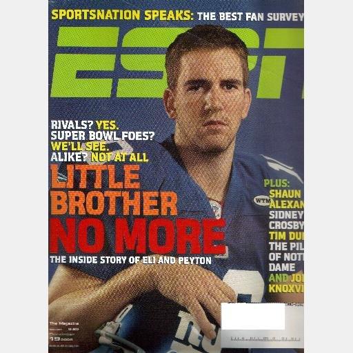 ESPN December 19 2005 Magazine ELI PEYTON MANNING Little Brother No More Shaun Alexander