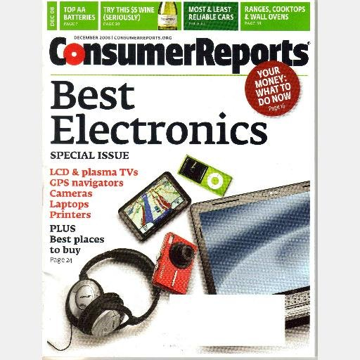 Consumer Guide Magazine: CONSUMER REPORTS December 2008 Magazine Best Electronics