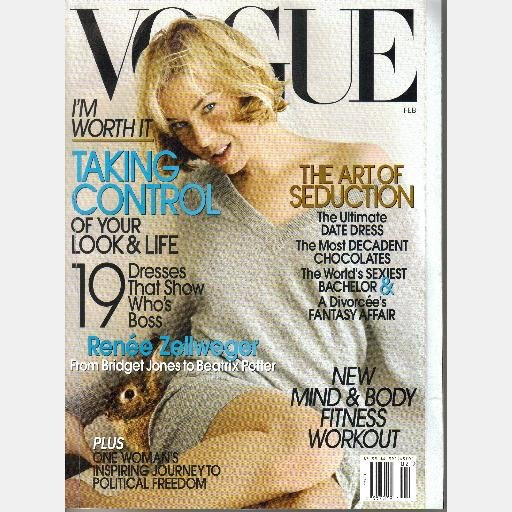 VOGUE February 2007 Magazine Renee Zellweger Mesi Jilly Derercuny India Hicks Ojai Valley Inn Spa