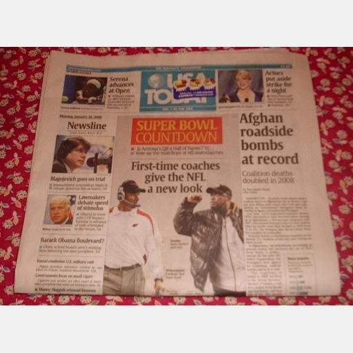USA TODAY January 26 2009 Monday Newspaper Super Bowl Blagojevich Serena Williams
