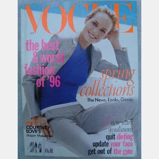 VOGUE January 1997 Magazine Amber Valletta Georgina Grenville Guinevere Van Seenus