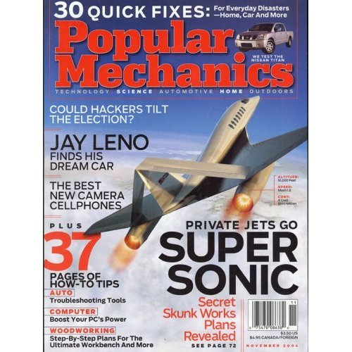 POPULAR MECHANICS November 2004 Magazine Volume 181 No. 11 Super Sonic Jets JAY LENO DREAM CAR