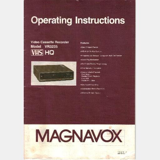 MAGNAVOX VHS VR3235 Video Cassette Recorder OPERATING OWNER INSTRUCTIONS MANUAL