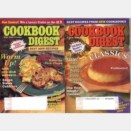 LOT 2 COOKBOOK DIGEST 1993 magazine January February March April Volume 14 No 1 No 2 magazine