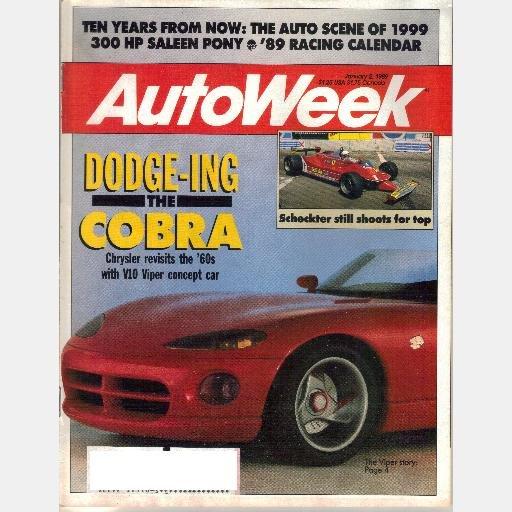 AUTOWEEK January 2 1989 Magazine CHRYSLER DODGE V10 VIPER concept Jody Scheckter SALEEN PONY 300 HP