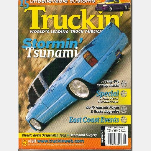TRUCKIN' January 2002 Magazine Twins Custom Stormin Tsunami Larry Cockerham 1958 Cameo
